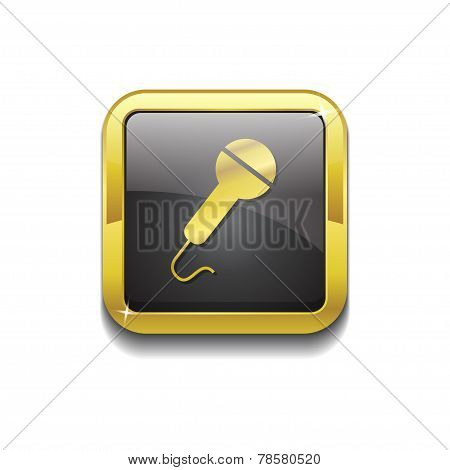 Microphone Gold Vector Icon Button