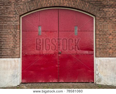 Red industrial doors