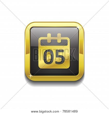 Calender Sign Gold Vector Icon Button