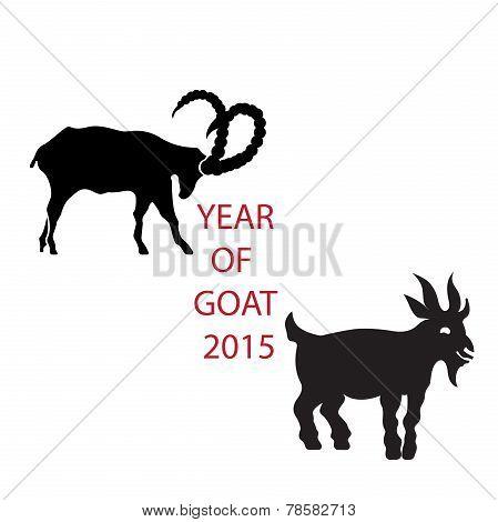 Black silhouette vector goat icon for logo  calendar or zodiac signs.