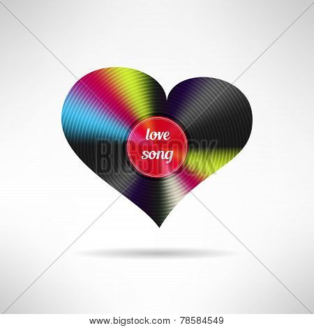 Vinyl heart shape. Love song concept. Vector illustration