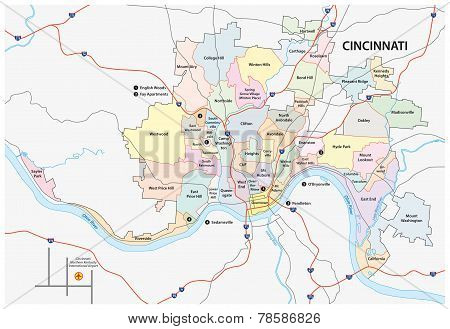 Cincinnati Road And Neighborhood Map