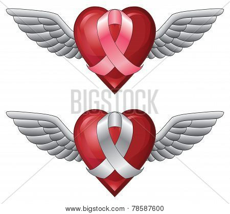 Ribbon With Wings and Heart