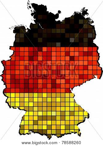 Germany map with flag inside
