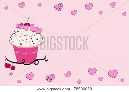 Cup cake with hearts greeting card
