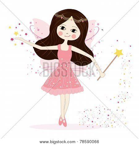 Cute fairy girl vector with stars