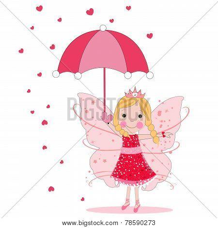 Cute fairy tale with umbrella and heart rain vector