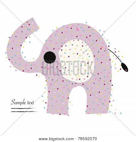 Elephant with heart vector greeting card