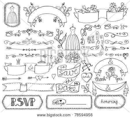 Doodle Bridal Shower Ribbons,border,badges,decor Set