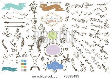 Doodle Border,budges,ribbons,petal Decor Element
