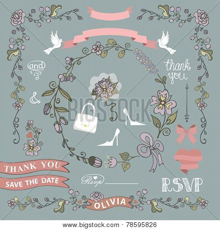 Bridal Shower Template Setwedding.floral Decor Elements