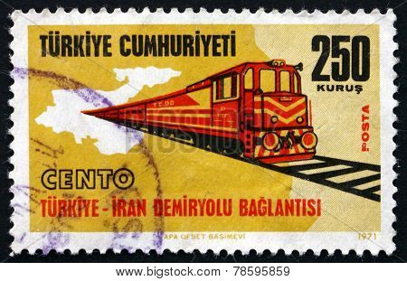 Postage Stamp Turkey 1971 Turkey-iran Railroad