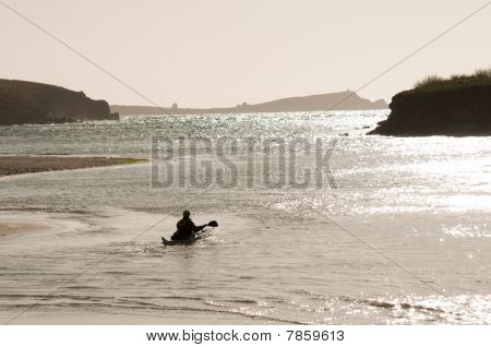Canoeist In The Sea At Porth Beach