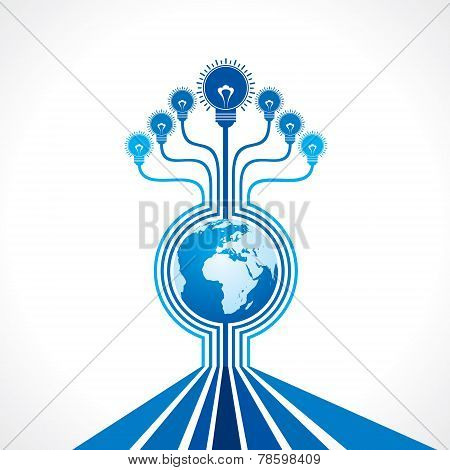 Abstract background with light-bulb and earth stock vector