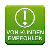 image of recommendation  - Isolated Button showing recommended by customers in german language for your website or online shop - JPG