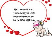 picture of born  - vector drawing greeting card for new born baby - JPG