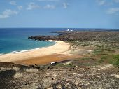 stock photo of ascension  - golden beach and blue seas of Ascension Island - JPG