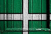 picture of devonshire  - flag of Devon painted on wooden frame - JPG