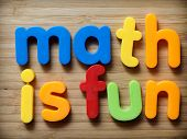 picture of math  - Math is fun concept in bright colorful letters - JPG