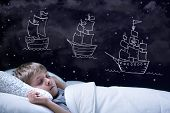 picture of boys night out  - Sleeping little boy having a dream about big adventure - JPG