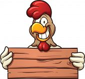 foto of chicken  - Chicken with a wooden sign - JPG