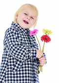 picture of unnatural  - Girl in checkered coat with a bouquet of flowers - JPG