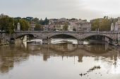 stock photo of emanuele  - Ponte Vittorio Emanuele II is a bridge in Rome constructed to designs of 1886 by the architect Ennio De Rossi Italy - JPG