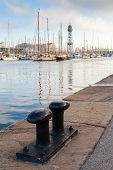 stock photo of bollard  - Port of Barcelona Spain - JPG