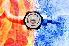 picture of controller  - manual heating controller with red and blue arrows in fire and ice background - JPG