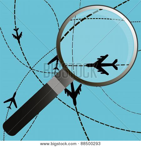 Airplanes On Their Destination Routes With Magnifying Glass, Air Travel.