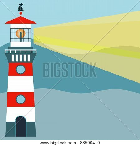 Vector Illustration Isolated. Striped Red-white Lighthouse. Traced Small Details. Easily Editable.
