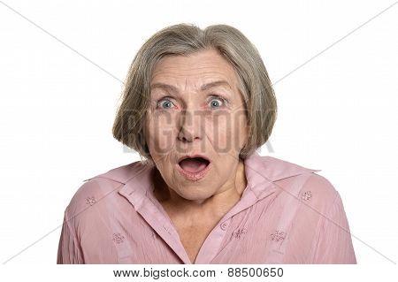 Surprised senior woman