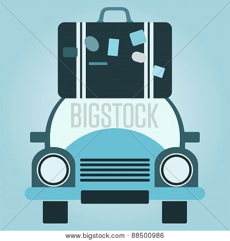 Retro Voyage. Car And Stack Of Suitcases. Travel Concept. Vector Illustration.