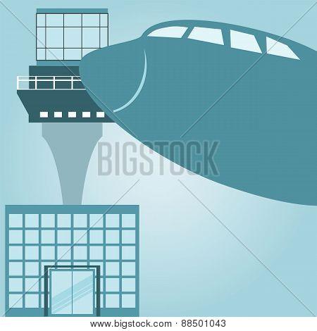 Airport Terminal Design, Vector Illustration