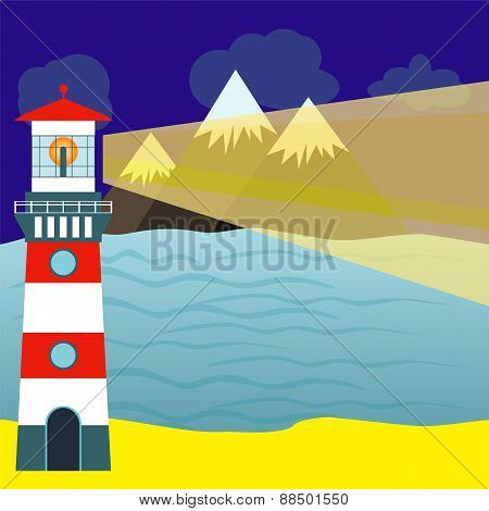 Landscape With Detailed Lighthouse, Mountain Range And Sea. Vector Illustration.
