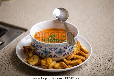 Healthy thai soup served with croutons