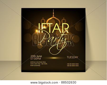 Ramadan Kareem, Iftar party celebration invitation card with illustration of mosque on shiny brown background.