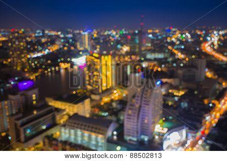 Bokeh of Bangkok city downtown after sunset