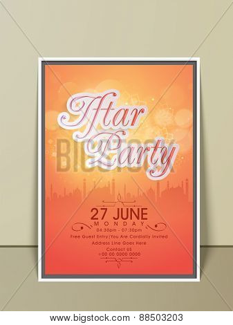 Stylish Ramadan Kareem Iftar party celebration invitation card with mosque, date, time and place details.
