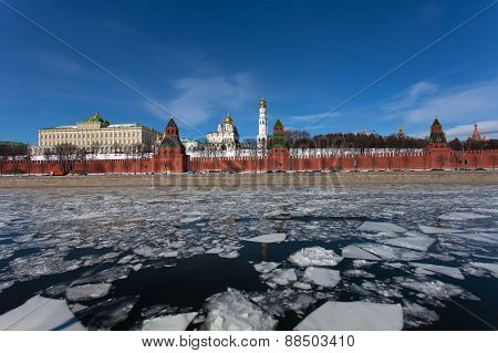 Spring Ice Drift On The Moskva River Against The Moscow Kremlin, Russia