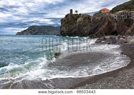 Beach In Vernazza In Cloudy Weather, Italy