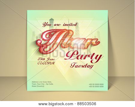 Stylish Ramadan Kareem Iftar party celebration poster or invitation with mosque, date, time and place details.