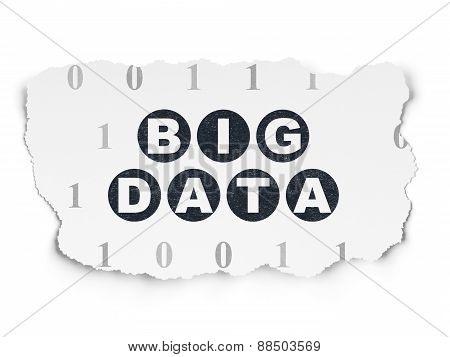 Data concept: Big Data on Torn Paper background