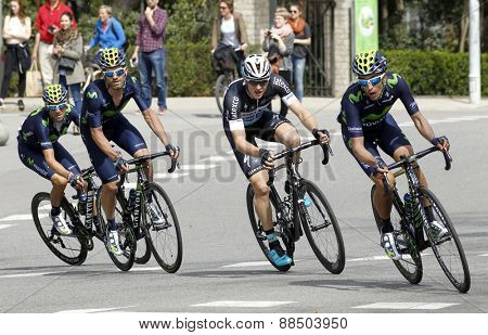 BARCELONA - MARCH, 29: Jose Joaquin Rojas(L), Petr Vakoc(C) and Jose Herrada(R) ride during the Tour of Catalonia cycling race through the streets of Monjuich mountain in Barcelona on March 29, 2015