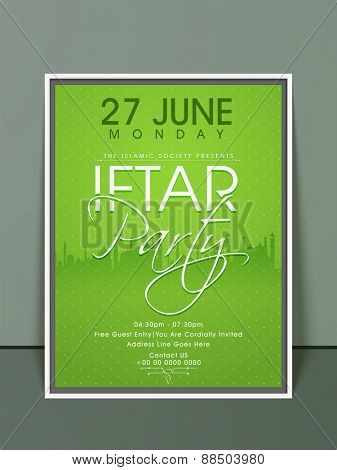 Stylish green invitation card design with illustration of mosque or masjid for Ramadan Kareem, Iftar party celebration.