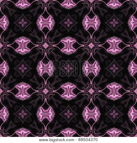 Seamless Kaleidoscope Texture Or Pattern In Pink And Black