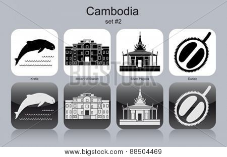 Landmarks of Cambodia. Set of monochrome icons. Editable vector illustration.