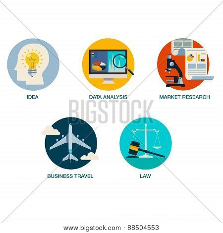Flat colorful business icons