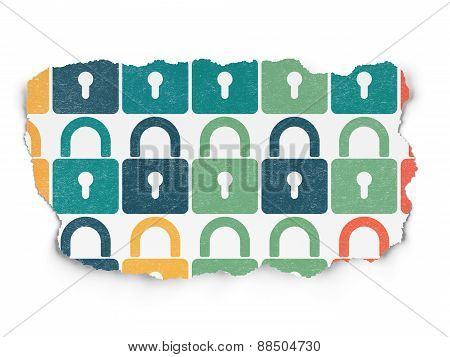 Security concept: Closed Padlock icons on Torn Paper background