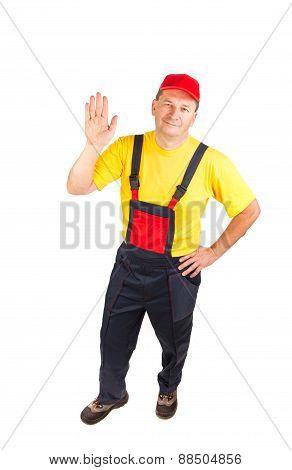 Worker in hat.